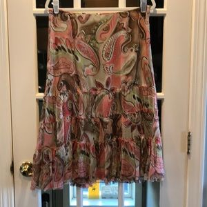 Allison Taylor Pink/Green:Brown Paisley Skirt